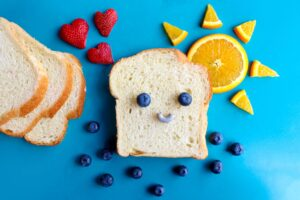 loaf bread and fruits