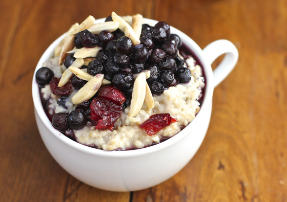 Oatmeal topped with dried cranberries and almonds