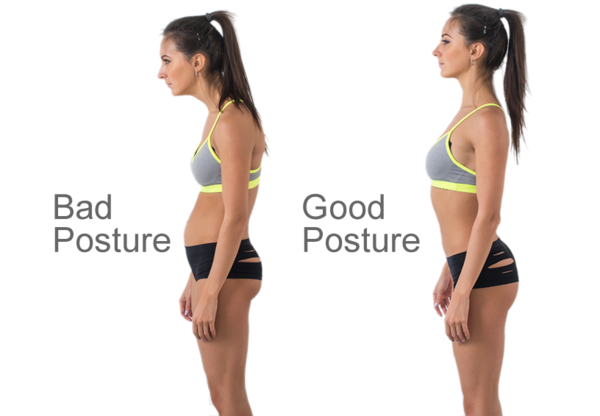 a woman representing good posture and bad posture