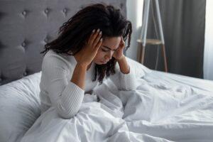 woman having morning headache