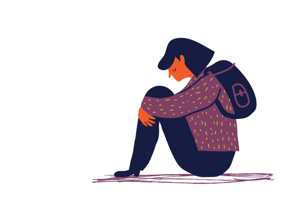 girl having anxiety illustration
