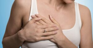 woman having pain in the chest